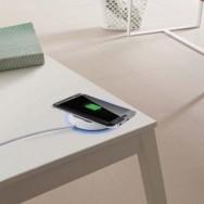 Caricabatterie Wireless Qi Base Circolare per Smartphone Bianco